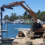 Drilling holes for piles as part of Oyster Cove Marina redevelopment