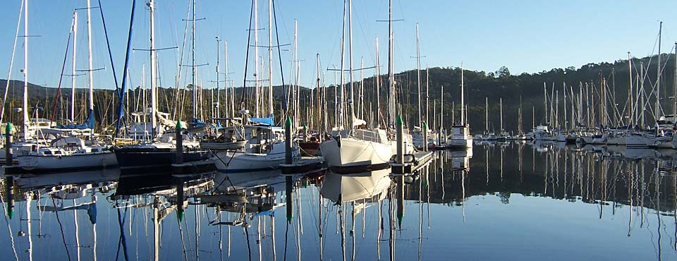 Early morning reflectiosn on the water at Oyster Cove Marina, Kettering, Tasmania