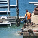 Pile drilling at Oyster Cover Marina